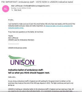 Ambulance ballot - first email