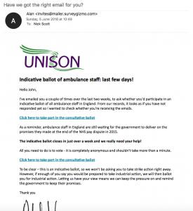 Ambulance ballot - third email