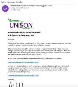 Ambulance ballot - fourth email