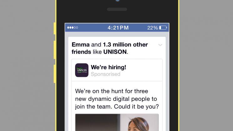 UNISON job advert mock-up on iPhone
