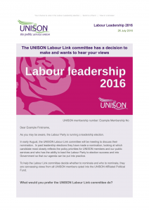Labour leadership email example 1