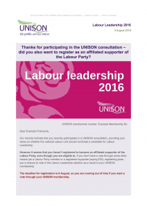 Labour leadership email example 2